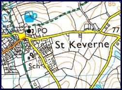 Ordanance Survey Map of St. Keverne